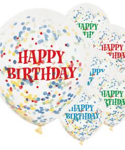 Happy Birthday Bright Confetti Balloons