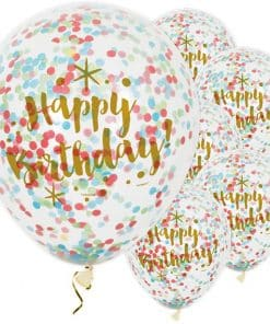 Happy Birthday Gold Glitz Confetti Balloons