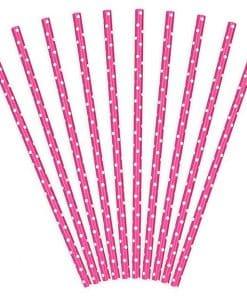 Hot Pink Dots Paper Straws