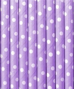 Lilac Dots Paper Straws