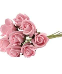 Mini Pastel Pink Foam Rose Bud Decorations