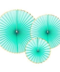 Mint Green & Gold Paper Fans