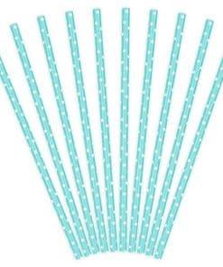 Pastel Blue Dots Paper Straws