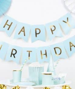 Pastel Blue & Gold Happy Birthday Banner