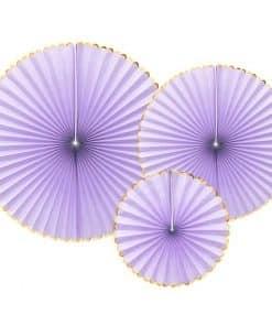 Pastel Lilac & Gold Paper Fans