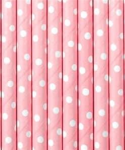 Pastel Pink Dots Paper Straws