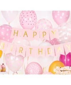 Pastel Pink & Gold Happy Birthday Banner