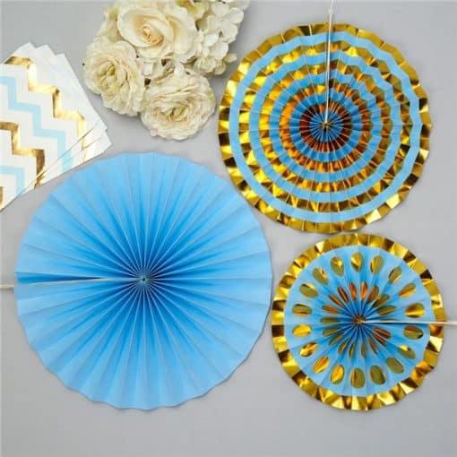 Pattern Works Blue & Gold Fan Decorations
