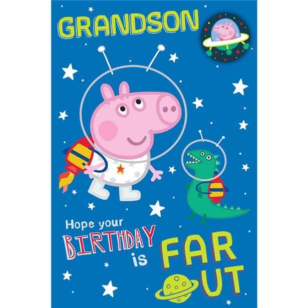 Peppa Pig Grandson Space Theme Birthday Card