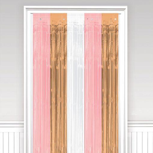 Rose Gold Blush Fringed Door Curtain