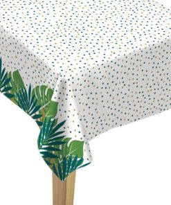 Tropical Leaf Flannel Backed Plastic Tablecover