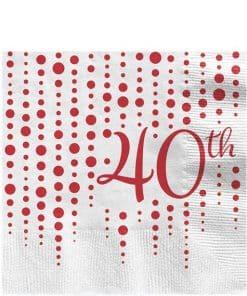 40th Ruby Sparkle & Shine Wedding Anniversary Napkins