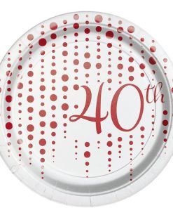40th Ruby Sparkle & Shine Wedding Anniversary Plates