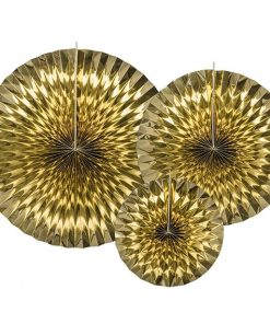 Gold Tissue Paper Fans