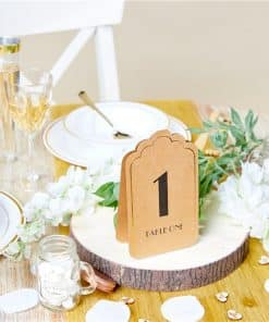 Kraft & Gold Table Number Place Cards
