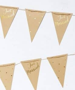 Just Married Kraft & Gold Bunting