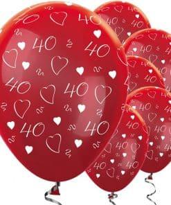 Metallic 40th Ruby Anniversary Balloons