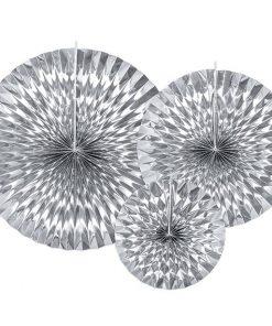 Silver Tissue Paper Fans