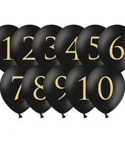 Black Wedding Table Number Balloons