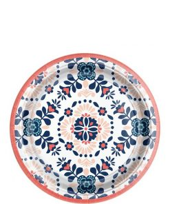 Coral Tile Dessert Paper Plates