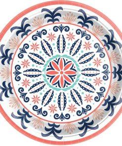 Coral Tile Paper Plates
