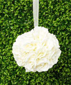 Cream Rose Hanging Pom Pom Decoration - 15cm