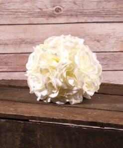 Cream Rose Hanging Pom Pom Decoration