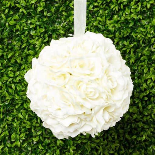 Cream Rose Hanging Pom Pom Decoration - 20cm