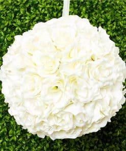 Cream Rose Hanging Pom Pom Decoration - 30cm