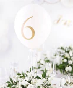 White Wedding Table Number Balloons