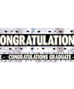 Black, White, Silver, Gold Graduation Foil Banner
