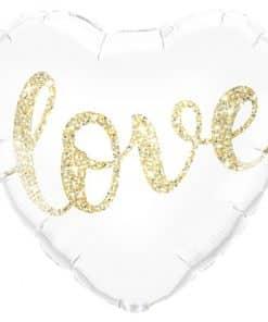 Gold Glitter Love Heart Balloon