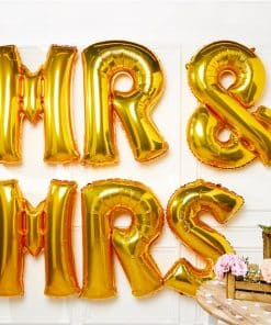 Gold Mr & Mrs Balloons