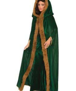Green Fur Trimmed Cape Adult Costume