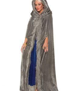 Grey Fur Trimmed Cape Adult Costume