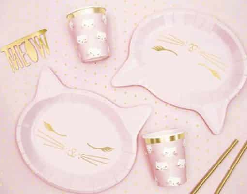 Meow Party Pink Cat Shaped Plates