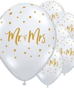 Mr & Mrs Gold Dots Diamond Clear Balloons
