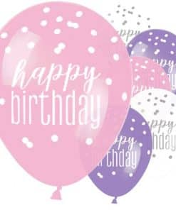 Pink Birthday Glitz Latex Balloons