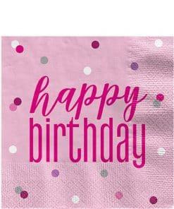 Pink Birthday Glitz Napkin