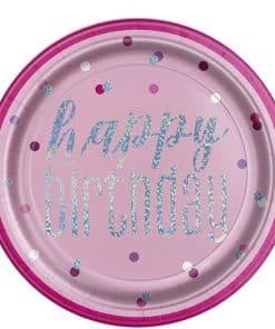 Pink Birthday Glitz Paper Plates
