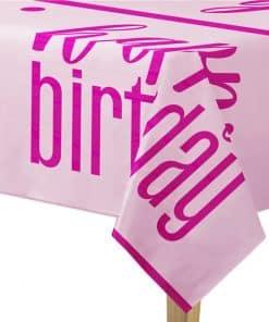 Pink Birthday Glitz Plastic Tablecover