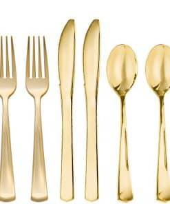 Premium Gold Plastic Cutlery