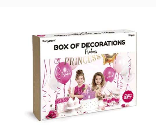 Box of Princess Party Decorations