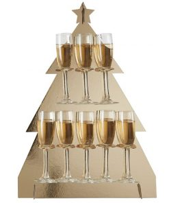 Gold Glitter Christmas Tree Shaped Drinks Stand