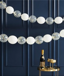 Gold Glitter Confetti Filled Mini Linking Balloons