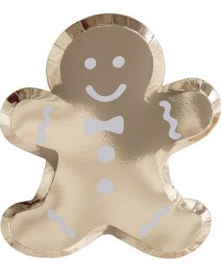 Gold Glitter Foiled Gingerbread Man Shaped Plates