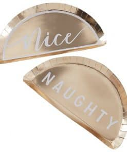 Gold Glitter Foiled Naughty & Nice Plates