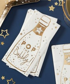 Gold Glitter Foiled Pop The Bubbly Paper Napkins