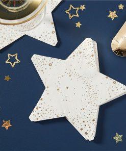 Gold Glitter Foiled Star Shaped Paper Napkins