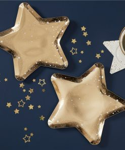 Gold Glitter Foiled Star Shaped Plates